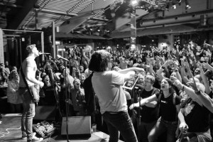 Marillion's Steve Hogarth on stage with ROCKAOKE - Marillion Weekender 2015 at Port Zeelande, The Netherlands.