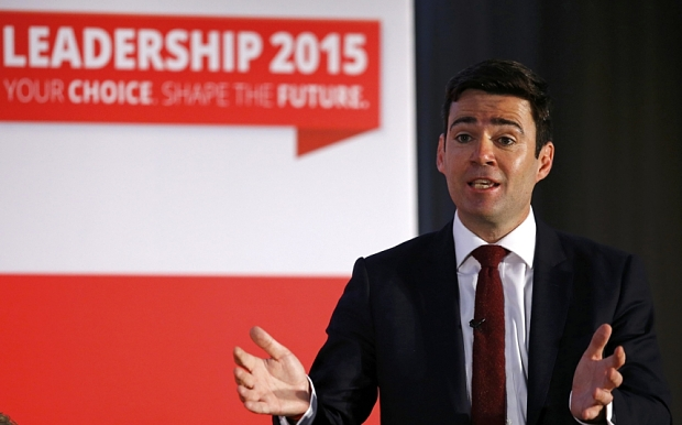 Labour Party leadership candidate Andy Burnham speaks as fellow candidate Yvett Cooper listens during a hustings event in Stevenage, Britain June 20, 2015. REUTERS/Darren Staples